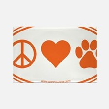 Peace Love Paws Orange Rectangle Magnet