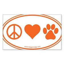 Peace Love Paws Orange Decal