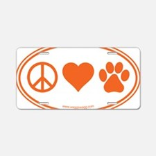 Peace Love Paws Orange Aluminum License Plate
