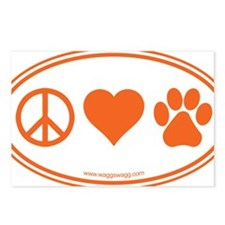 Peace Love Paws Orange Postcards (Package of 8)