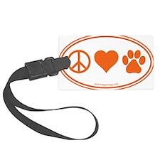 Peace Love Paws Orange Luggage Tag