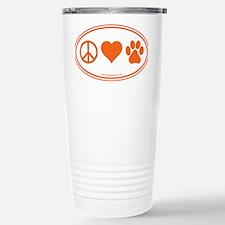 Peace Love Paws Orange Travel Mug