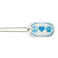 Peace Love Paws Blue Dog Tags