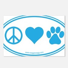 Peace Love Paws Blue Postcards (Package of 8)
