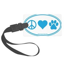 Peace Love Paws Blue Luggage Tag