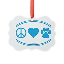 Peace Love Paws Blue Ornament