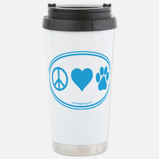 Peace Love Paws Blue Stainless Steel Travel Mug