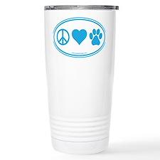 Peace Love Paws Blue Travel Mug