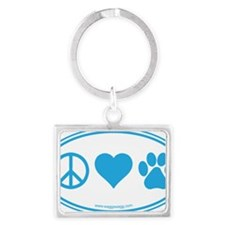 Peace Love Paws Blue Landscape Keychain