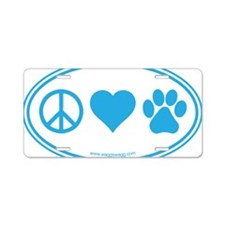 Peace Love Paws Blue Aluminum License Plate