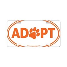 Adopt Orange Aluminum License Plate