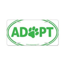 Adopt Green Aluminum License Plate