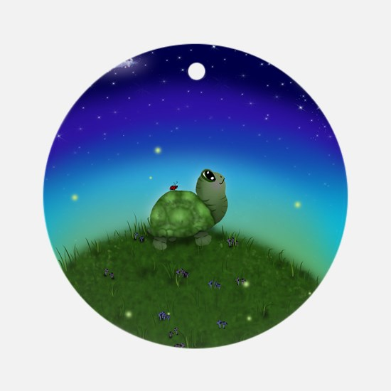 Turtle Moon and Stars Round Ornament