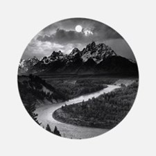 Ansel Adams The Tetons and the Snak Round Ornament