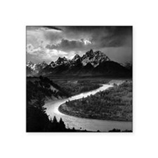 "Ansel Adams The Tetons and  Square Sticker 3"" x 3"""