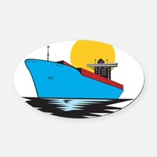Container Ship Cargo Boat Retro Oval Car Magnet