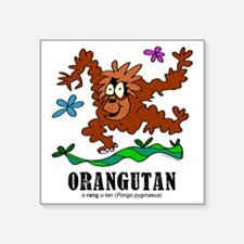 "Cartoon Orangutan by Lorenz Square Sticker 3"" x 3"""