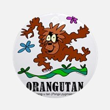 Cartoon Orangutan by Lorenzo Round Ornament