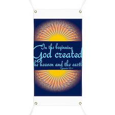 Genesis 1 1 Bible Verse Sunrise Banner