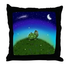 Turtle Moon and Stars (txt) Throw Pillow