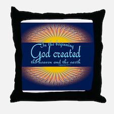 Genesis 1 1 Bible Verse Sunrise Throw Pillow