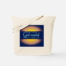 Genesis 1 1 Bible Verse Sunrise Tote Bag