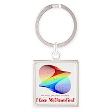 I Love Mathematics Square Keychain