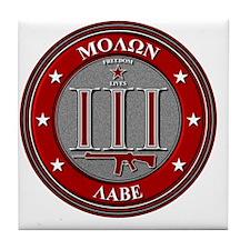 Red Molon Labe Tile Coaster