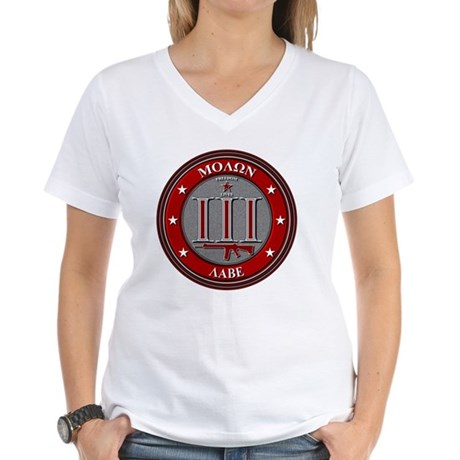 Red Molon Labe Women's V-Neck T-Shirt