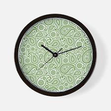 Olive Green  White Vintage Paisley Patt Wall Clock