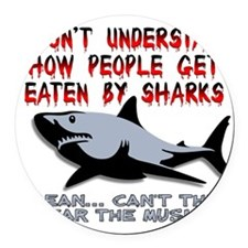 Danger Music Sharks Funny T-Shirt Round Car Magnet