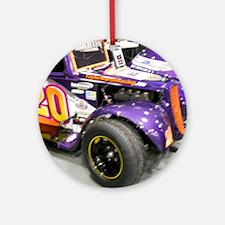 Girls Racing Car Round Ornament