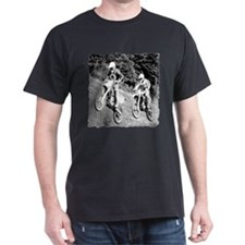 Two Dirtbikers Catching Air (BW) T-Shirt