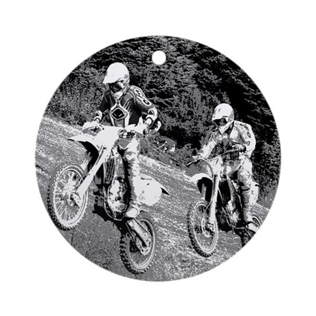 Two Dirtbikers Catching Air (BW) Ornament (Round)