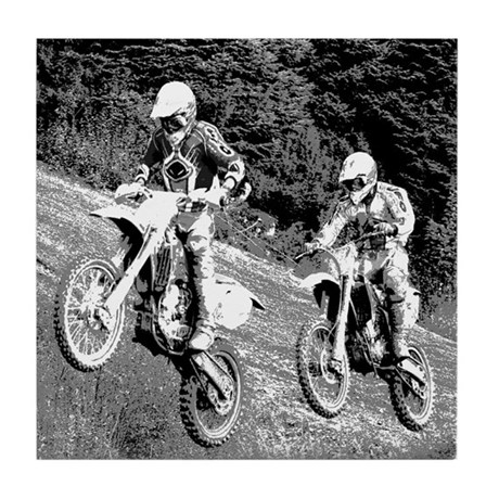 Two Dirtbikers Catching Air (BW) Tile Coaster
