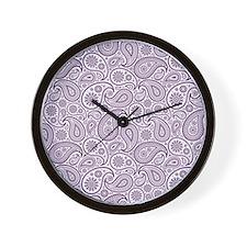 Purple Plum  White Vintage Floral Paisl Wall Clock