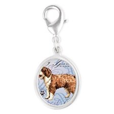 Spanish Water Dog Silver Oval Charm