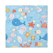Cute Sea Life Queen Duvet