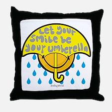 Umbrella Smiley Throw Pillow