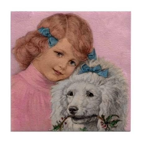 1919 Young Girl with Standard Poodle ~Tile Coaster