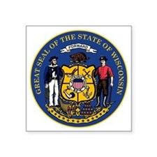 """Great Seal of Wisconsin Square Sticker 3"""" x 3"""""""