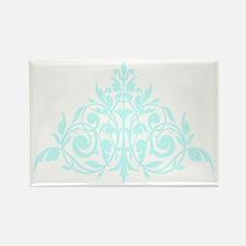 Blue green damask print Rectangle Magnet
