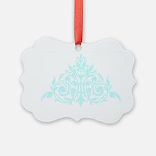 Blue green damask print Ornament