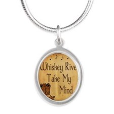 Country Music Coaster Silver Oval Necklace