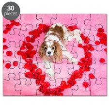 King Charles Spaniel Red Hearts Puzzle