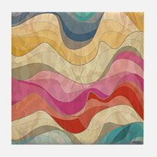 Cute Wavy Pattern Tile Coaster