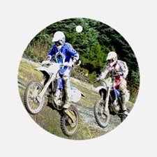 Two dirt bikers catching air Ornament (Round)