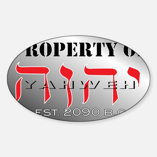 property of YHWH Sticker (Oval)