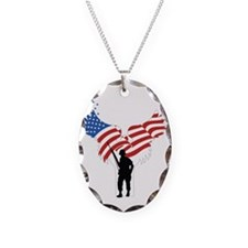 Soldiers Angel Flag Necklace Oval Charm