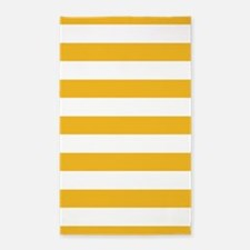Yellow And White Stripe 3'X5' Area Rug